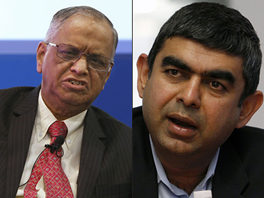 N R Narayana Murthy (left), co-founder, Infosys and Vishal Sikka, former CEO & MD
