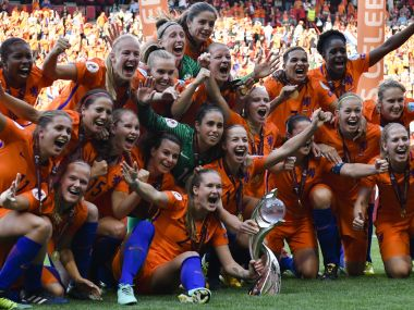 Dutch players celebrate with the trophy after defeating Denmark in the Women's Euro 2017 final. AP