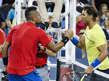 Nick Kyrgios shakes hands with Rafael Nadal after his win. AP