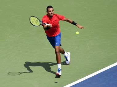 Nick Kyrgios hits a forehand against Viktor Troicki during the Rogers Cup. Reuters