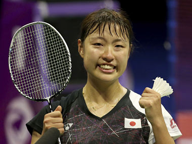 Japan's Nozomi Okuhara reacts after winning gold in the women singles final of the 2017 BWF World Championships. AP