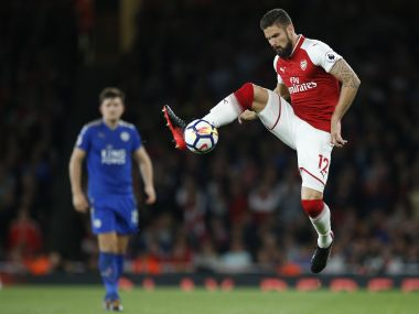 Arsenal's Olivier Giroud controls the ball during their English Premier League soccer match between Arsenal and Leicester City at the Emirates stadium in London, Friday, Aug. 11, 2017. (AP Photo/Alastair Grant)