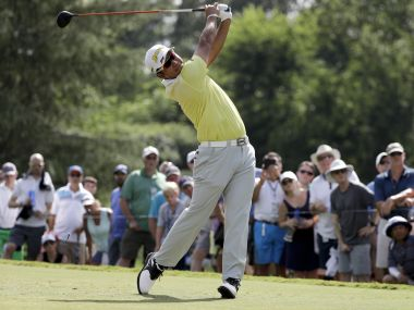 Hideki Matsuyama of Japan, hits his tee shot on the ninth hole during the third round of the PGA Championship. AP