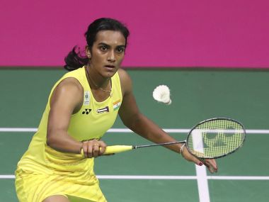 India's Pusarla Sindhu competes in the women singles final on day seven of the 2017 BWF World Championships at the Emirates Arena in Glasgow, Scotland, Sunday Aug. 27, 2017. (Jane Barlow/PA via AP)