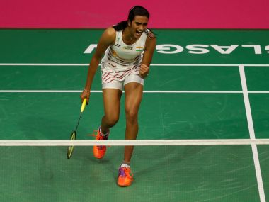 India's PV Sindhu celebrates against China's Chen Yufei, Reuters