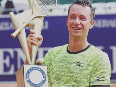 Philipp Kohlschreiber poses with the trophy after beating Joao Sousa in the final. Image taken from Instagram.