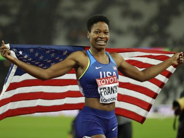 United States' Phyllis Francis celebrates after winning the Women's 400 meters final during the World Athletics Championships in London Wednesday, Aug. 9, 2017. (AP Photo/Tim Ireland)