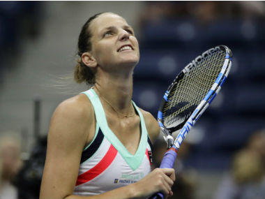 Karolina Pliskova reacts after beating Magda Linette during the first round of US Open. AP