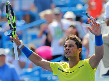 Aug 18, 2017; Mason, OH, USA; Rafael Nadal (ESP) reacts after defeating Albert Ramos-Vinolas (ESP) during the Western and Southern Open at the Lindner Family Tennis Center. Mandatory Credit: Aaron Doster-USA TODAY Sports - RTS1CDO7