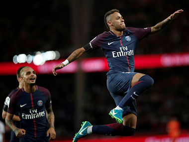 Soccer Football - Ligue 1 - Paris St Germain vs Toulouse - Paris, France - August 20, 2017 Paris Saint-Germain's Neymar celebrates scoring their sixth goal REUTERS/Benoit Tessier TPX IMAGES OF THE DAY - RTS1CKNR