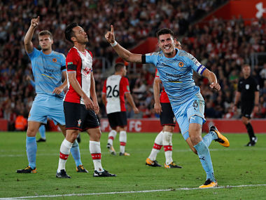 """Football Soccer - Carabao Cup - Second Round - Southampton vs Wolverhampton Wanderers - Southampton, Britain - August 23, 2017 Wolverhampton Wanderers' Danny Batth celebrates scoring their first goal Action Images via Reuters/Paul Childs EDITORIAL USE ONLY. No use with unauthorized audio, video, data, fixture lists, club/league logos or """"live"""" services. Online in-match use limited to 45 images, no video emulation. No use in betting, games or single club/league/player publications. Please contact your account representative for further details. - RTS1D1IB"""