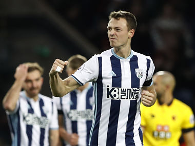 "Britain Football Soccer - West Bromwich Albion v Watford - Premier League - The Hawthorns - 3/12/16 West Bromwich Albion's Jonny Evans celebrates scoring their first goal Action Images via Reuters / Carl Recine Livepic EDITORIAL USE ONLY. No use with unauthorized audio, video, data, fixture lists, club/league logos or ""live"" services. Online in-match use limited to 45 images, no video emulation. No use in betting, games or single club/league/player publications. Please contact your account representative for further details. - RTSUH67"