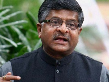 File image of Union law minister Ravi Shankar Prasad. PTI