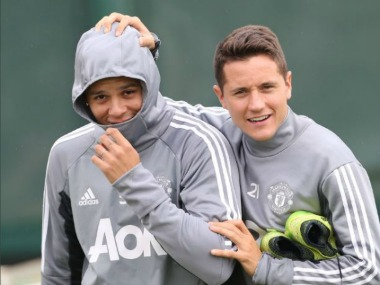 Manchester United defender Marcus Rojo was spotted training with first team.  Image Courtesy: Twitter @ManUtd