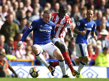 Everton's Wayne Rooney in action during the Premier League clash against Stoke City. AP
