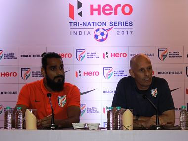 India player Sandesh Jhingan with coach Stephen Constantine. Image courtesy: Twitter @IndianFootball