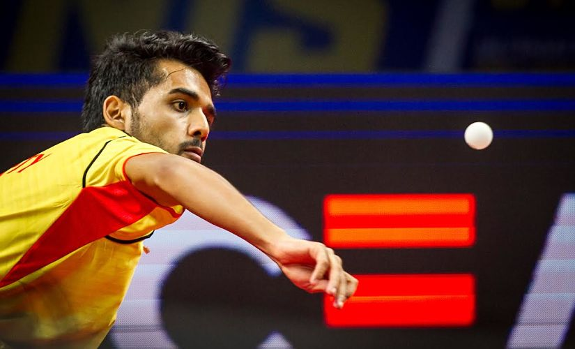 Sanil Shetty of Falcons TTC in action during the Tie 7 match of the CEAT Ultimate Table Tennis league played between Oilmax-Stag Yoddhas and Falcons TTC held at the Jawaharlal Nehru Indoor Stadium in Chennai, India on July 19, 2017. Photo : Pal Pillai/ Focus Sports / Ultimate Table Tennis