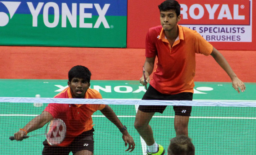 Satwiksairaj Rankireddy and Chirag Shetty in action at the India Open. Twitter: @BAI_Media