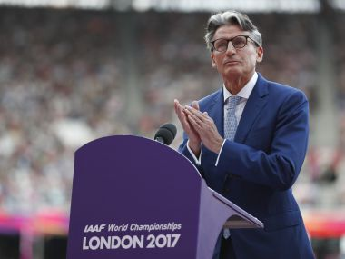 Athletics - World Athletics Championships – opening ceremony – London Stadium, London, Britain – August 4, 2017 – President of the International Association of Athletics Federations Sebastian Coe gestures as he delivers a speech. REUTERS/Matthew Childs - RTS1AFGW