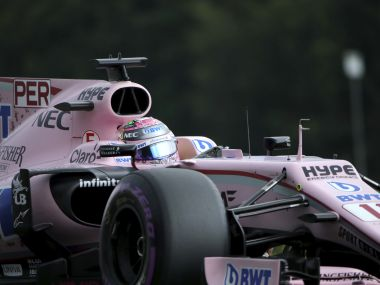 Force India driver Sergio Perez of Mexico steers his car during the third practice session ahead of the Belgian Formula One Grand Prix in Spa-Francorchamps, Belgium, Saturday, Aug. 26, 2017. (AP Photo/Olivier Matthys)