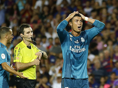 Real Madrid's Cristiano Ronaldo has been been given a 5-match suspension by Spanish Football Federation. AP