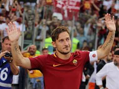 Francesco Totti greets fans after his last match for AS Roma. Getty Images