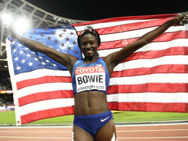 USA's Tori Bowie celebrates her win in the women's 100m final on Sunday. Reuters