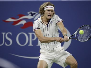 Alexander Zverev returns a shot to Borna Coric during the US Open second round. AP