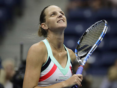 Karolina Pliskova, of the Czech Republic, reacts after beating Magda Linette, of Poland, during the first round of the U.S. Open tennis tournament, Tuesday, Aug. 29, 2017, in New York. (AP Photo/Frank Franklin II)