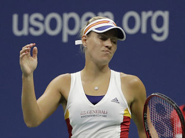 Angelique Kerber, of Germany, reacts after losing a point to Misaki Doi, of Japan, during the first round of the U.S. Open tennis tournament, Tuesday, Aug. 29, 2017, in New York. (AP Photo/Frank Franklin II)
