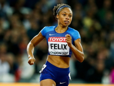 USA's Allyson Felix in action at the IAAF Worlds. AP