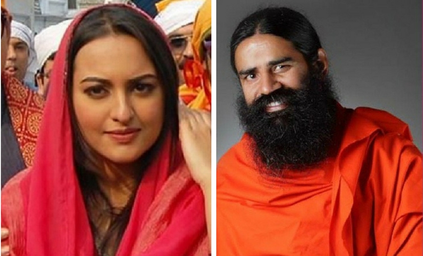 Sonakshi Sinha and Baba Ramdev. Images from Twitter.