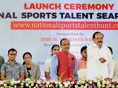 Vice President M Venkaiah Naidu and Union Minister Vijay Goel launch the National Sports Talent Search Portal - an initiative of the Union Ministry of Youth Affairs and Sports - in New Delhi. PTI