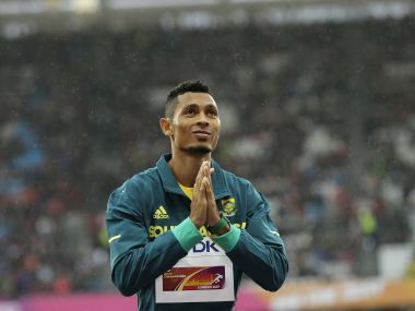 South Africa's Wayde Van Niekerk reacts at the podium after wining the Men's 400m during the World Athletics Championships in London Wednesday, Aug. 9, 2017. (AP Photo/Tim Ireland)