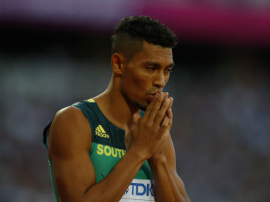 Wayde van Niekerk reacts during the Men's 400m heats. Reuters