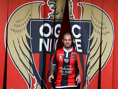 OGC Nice's new signing Wesley Sneijder. Image courtesy: Twitter @sneijder101010