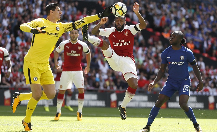 Arsenal new boys Alexandre Lacazette and Sead Kolasinac in action against Chelsea during last weekend's Community Shield match. AP