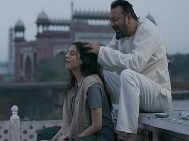Aditi Rao Hydari and Sanjay Dutt in a still from Bhoomi. YouTube
