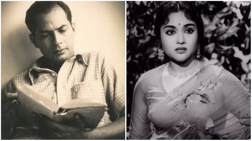 Bimal Roy (L); still from Madhumati (1958). Image via Twitter