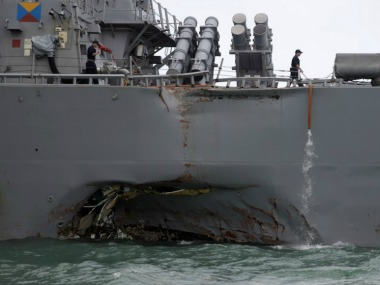 John S McCain was damaged in the collision that happened off the east coast of Singapore. Reuters