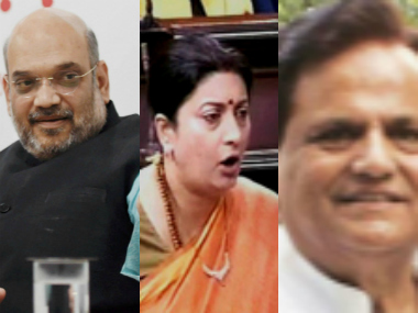 BJP chief Amit Shah, Union minister Smriti Irani and Congress leader Ahmed Patel. Agencies
