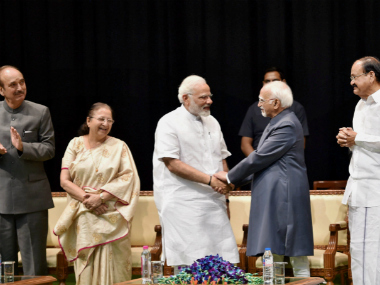 New Delhi: Outgoing Vice-President Hamid Ansari exchanges greetings Prime Minister Narendra Modi as Vice President-designate M Venkaiah Naidu, Lok Sabha Speaker Sumitra Mahajan and Leader of Opposition Ghulam Nabi Azad look on during his farewell function at GMC Balayogi Auditorium at Parliament in New Delhi on Thursday. PTI