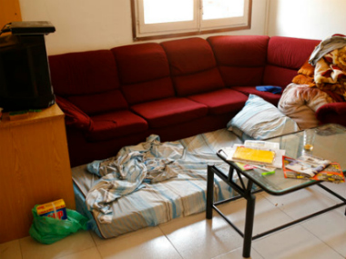 A mattress lies on the floor in an apartment where neighbours said an Imam lived after the police raided and searched the flat in Ripoll, north of Barcelona. AP