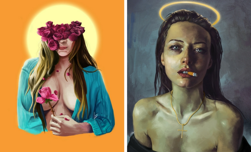 'princess de fleurs faux//' (left) and one of his pieces from '//new gods'