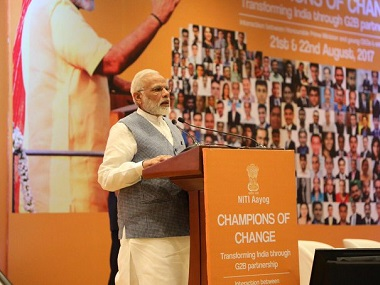 Narendra Modi at Champions of Change event. Twitter @BJP4change