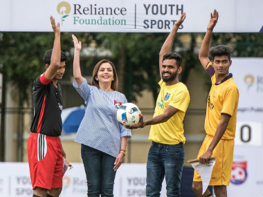 RFYS chairperson Nita Ambani (2nd from left) and India international CK Vineeth (3rd from left) during the launch of the RFYS national football competition.