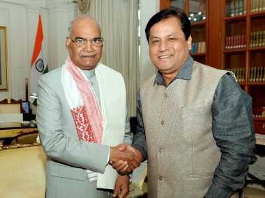 President  Ram Nath Kovind with Assam Chief Minister Sarbananda Sonowal. PTI