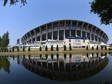 Image of the venue of UEFA Super Cup final in Skopje. Twitter @ChampionsLeague