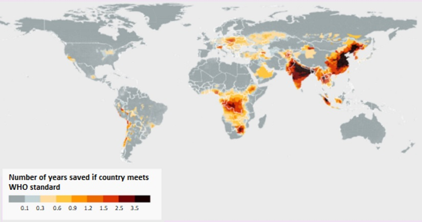 The AQLI uses concentrations of PM2.5 to estimate how many years a country would add to the life expectancy of its people by adhering to the WHO's air quality standard of 10 μg/m3. Source: University of Chicago