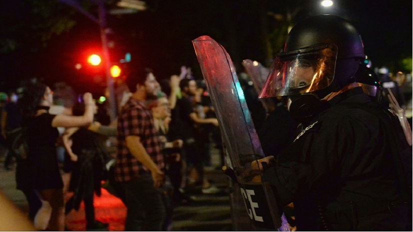 The US city of St Louis, Missouri is braced for a second day of protests over the acquittal of a former police officer in the shooting death of a black man. Image via AFP/ Michael B Thomas